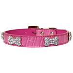 Luxury pink faux crocodile texture collar - TiaraPooches.Com