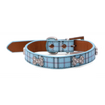 Furberry checked dog collar in preppy blue - TiaraPooches.Com