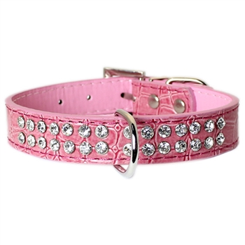 Pink crocodile texture dog collar with 2 rows of rhinestones - TiaraPooches.Com