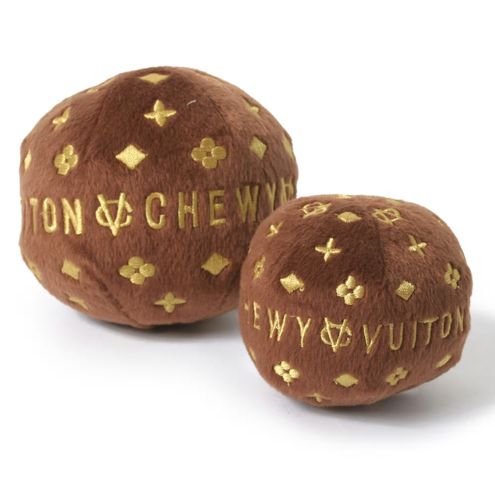 Chewy Vuiton plush brown faux fur ball with gold embroidered logo design