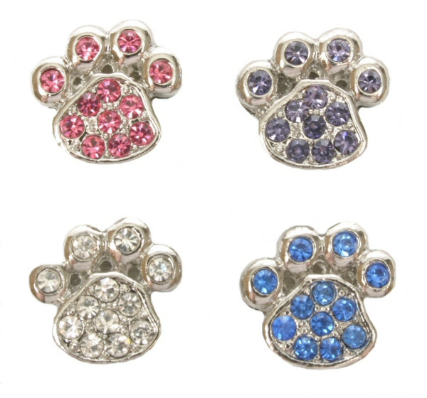 Diamante paw charm for customisable collars 10mm - TiaraPooches.Com