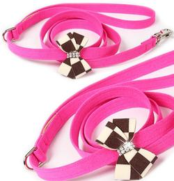 Susan Lanci Design - Windsor check nouveau bow lead (4 foot in total length) - TiaraPooches.Com
