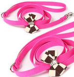 Susan Lanci Design - Windsor check nouveau bow lead with Swarovski - TiaraPooches.Com