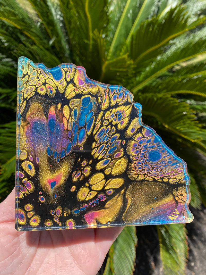 Resin Art Coaster-geode set design #A2
