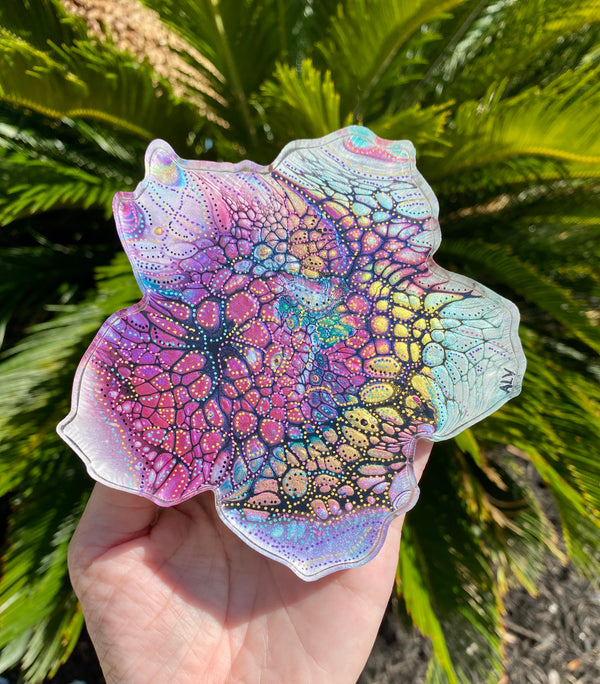 Resin art coaster-hibiscus flower design 🌺