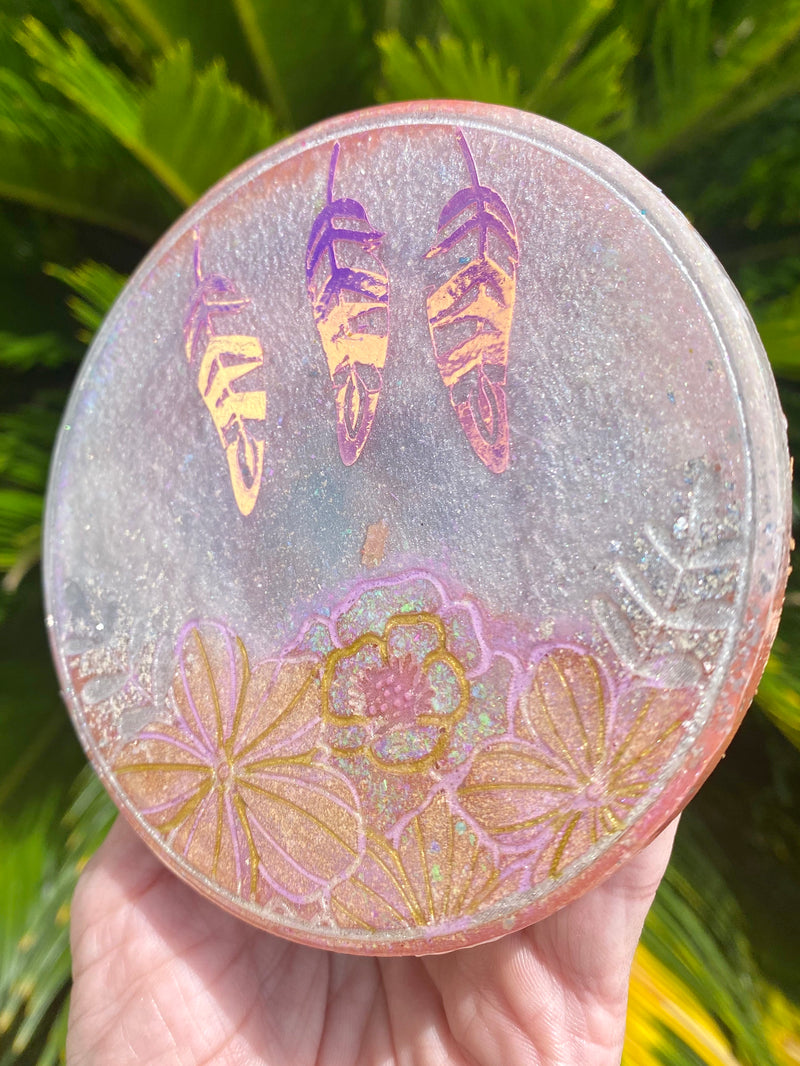 Resin Art Coaster- Round floral+feather design