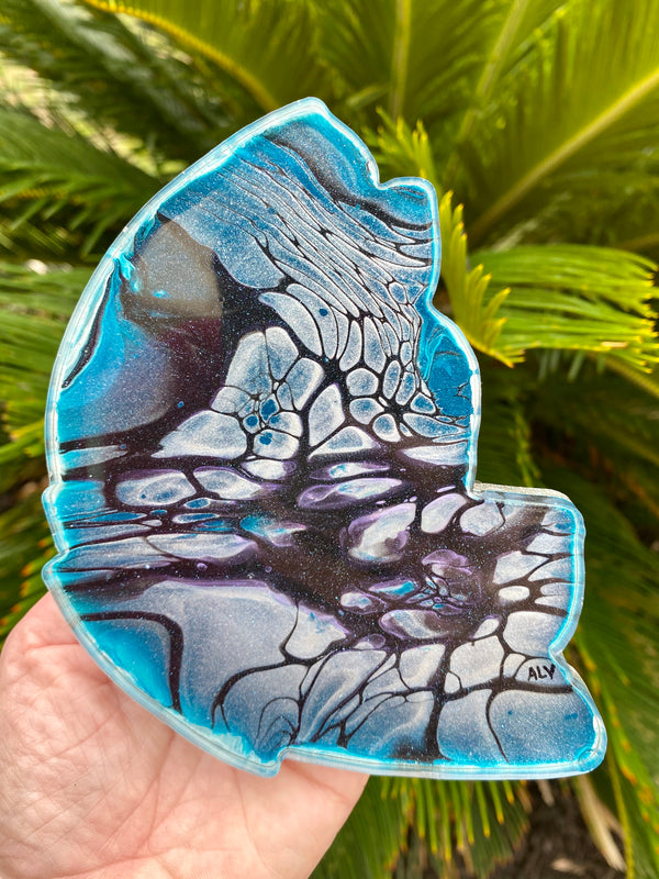 Resin art coaster-butterfly wing design 🦋