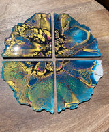 Resin Art Coaster-geode set design #A1