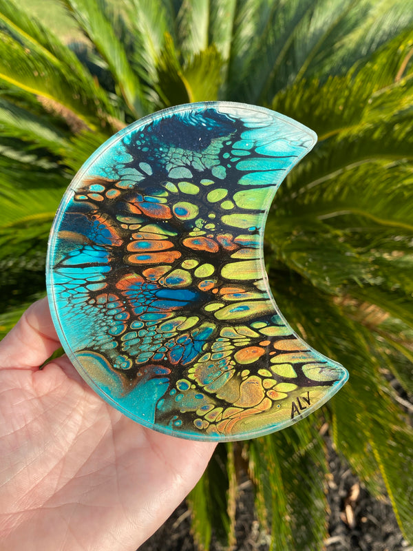 Resin Art Coaster- moon 🌙