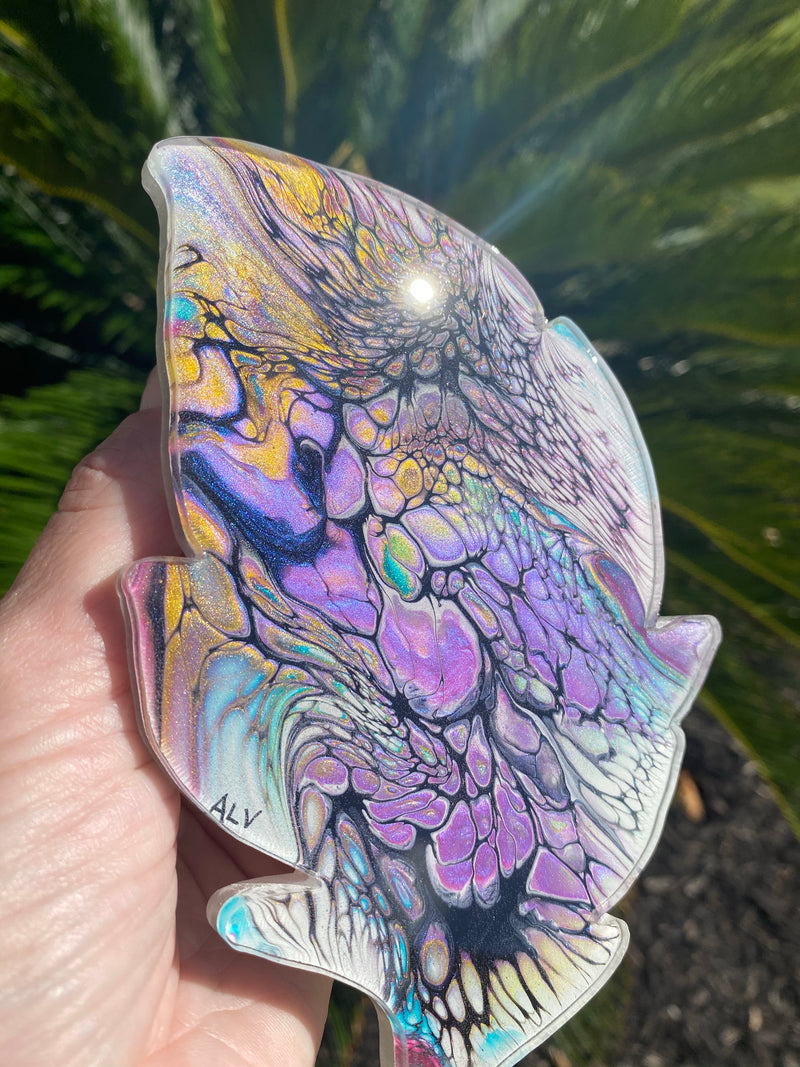Resin art coaster-feather🍃