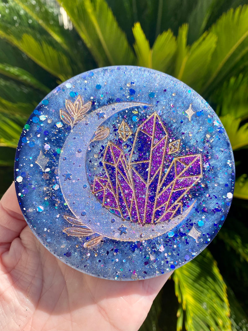 Resin Art Coaster- Round Moon Crystal design