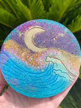 Resin Art Coaster- Round moon+wave design
