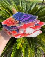 Resin Art Coaster-geode set design #C1