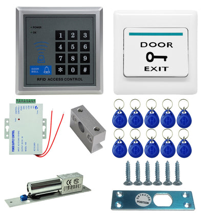 MJPT020 RFID Access Control System Kits + Bolt Lock + 10 Buckle Card + Power Supply + Exit Button + Screws Kit