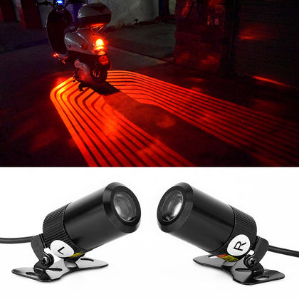 2 PCS DC 8-36V 3W Motorcycle LED Projection Lamp Light, Cable Length: 2.4m(Red Light)