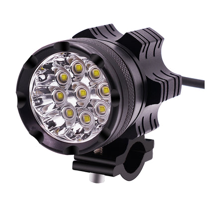 DC 9V-48V 5500LM 6000K 45W IP67 9 LED Lamp Beads Motorcycle Aluminum Alloy LED Headlight Lamps, Constantly Bright + Blasting Flash