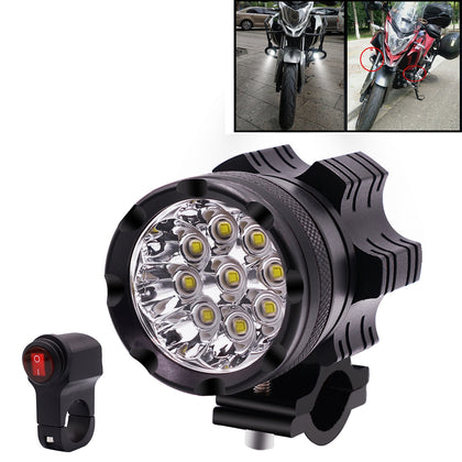 DC12V 5500LM 6000K 45W IP67 9 LED Lamp Beads Motorcycle Aluminum Alloy LED Headlight Lamps with Switch, Constantly Bright + Blasti