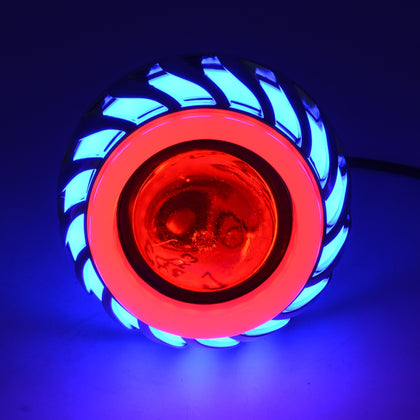 Motorcycle 30W DC 12V-85V LED Headlight Lens Built-in Whirlwind Double Aperture Angle Eyes + Devil Eye(Blue Light)