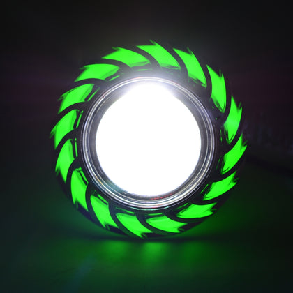 Motorcycle 30W DC 12V-85V LED Headlight with Whirlwind Angle Eyes Double Light Lens Built-in Devil Eye(Green Light)