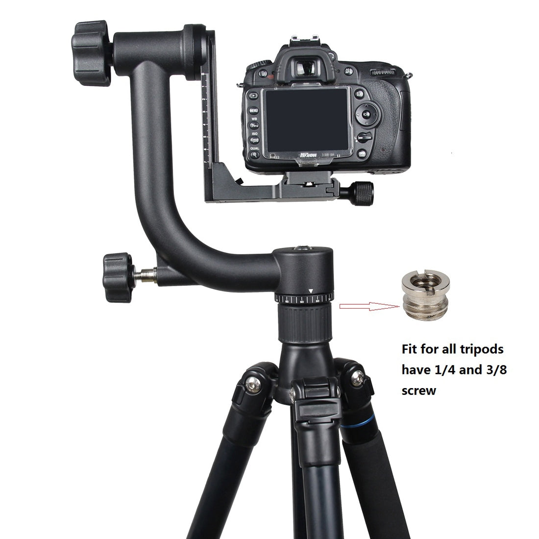 Horizontal 360 Degree Gimbal Tripod Head for Home DV and SLR Cameras(Black)