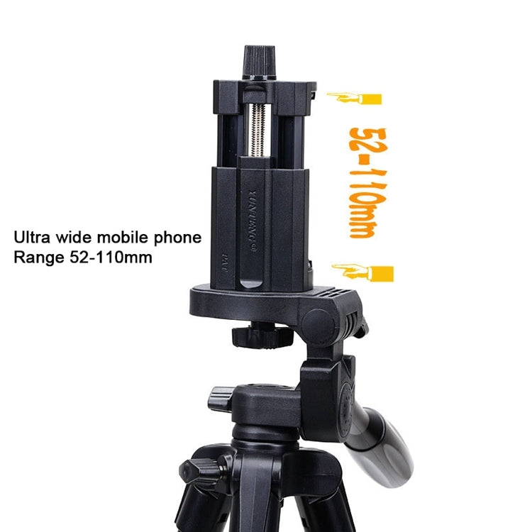 YUNTENG VCT-5208RM Aluminum Magnesium Alloy Leg Tripod Mount with Bluetooth Remote Control & Tripod Head & Phone Clamp for SLR Cam