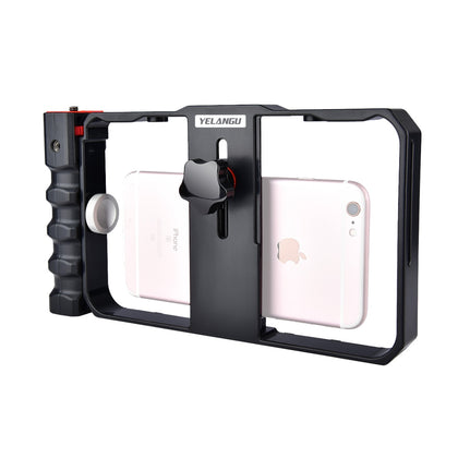 YLG0901B Vlogging Live Broadcast Smartphone Plastic Cage Video Rig Filmmaking Recording Handle Stabilizer Bracket for iPhone, Gala