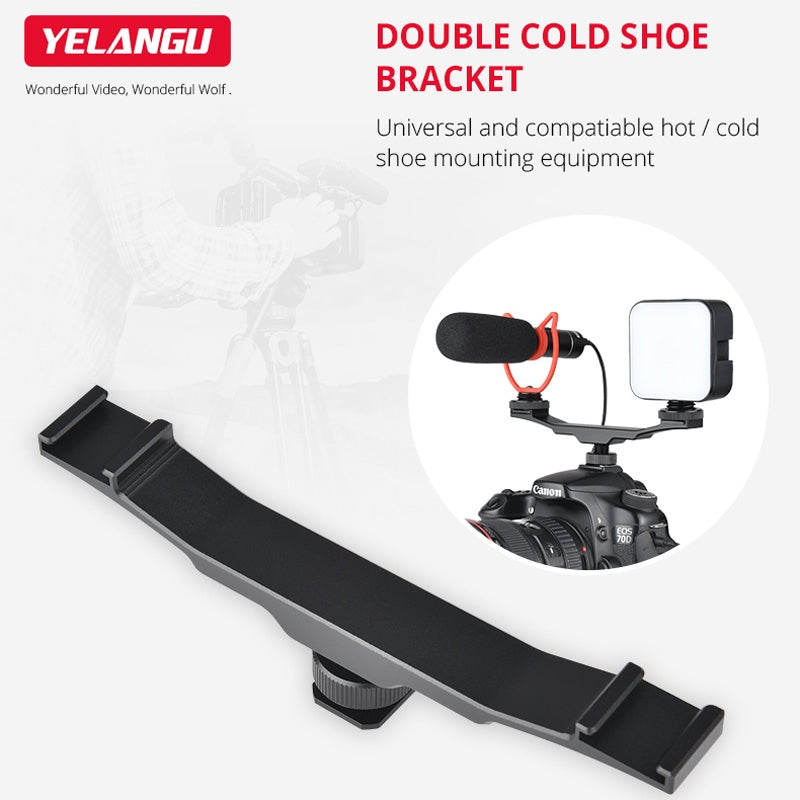 YLG0702A Dual Cold Hot Shoe Mount Adapter Aluminum Alloy Extension Bracket (Black)