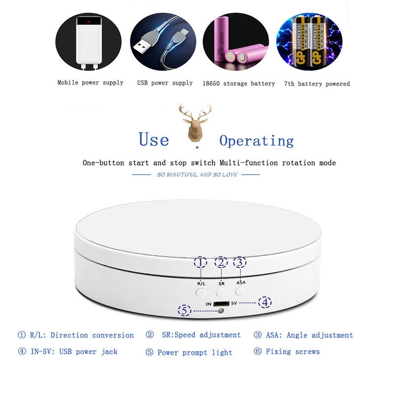 13.8cm USB Charging Smart 360 Degree Rotating Turntable Display Stand Video Shooting Props Turntable for Photography, Load 3kg (Bl