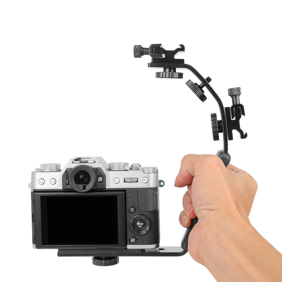L-Shaped Aluminum Flash Bracket Camera Holder (Black)