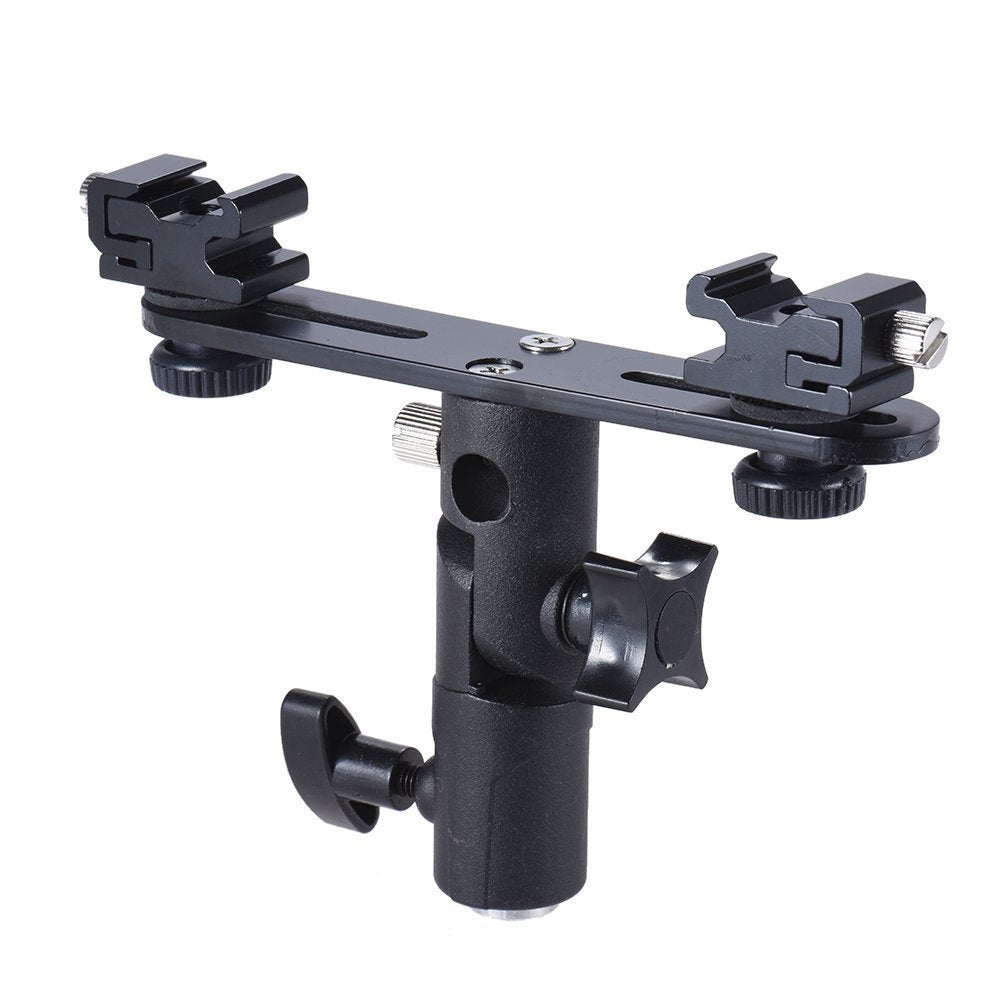 Double Hot Shoe Flash Stand Bracket