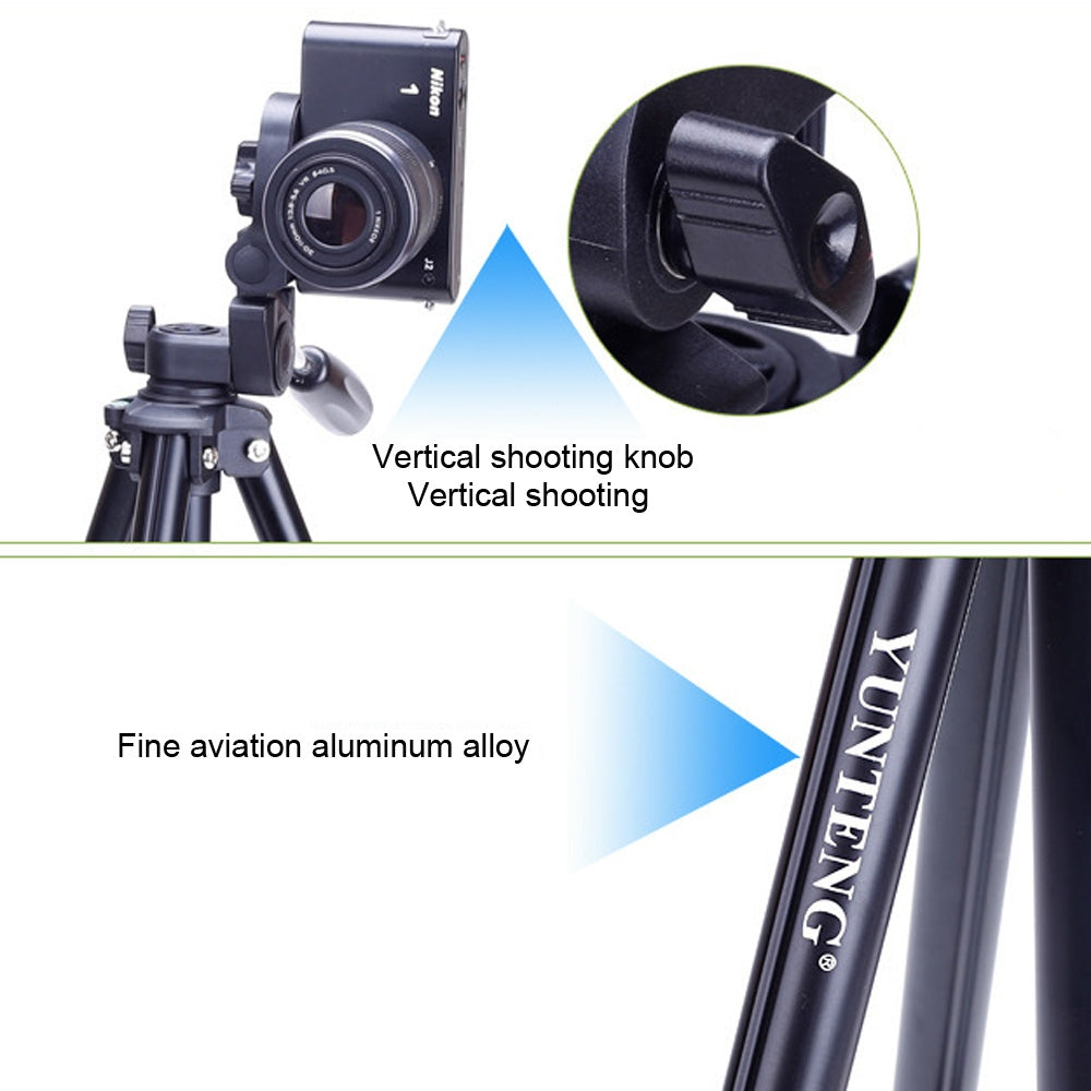YUNTENG VCT-680RM 4-Section Folding Legs Aluminum Alloy Tripod Mount with Three-Dimensional Tripod Head for DSLR & Digital Camera,