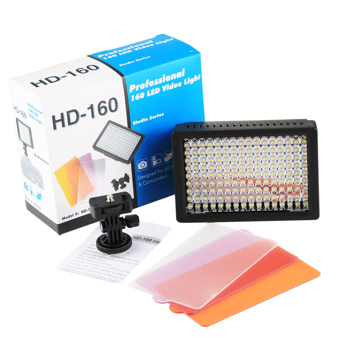 HD-160 White Light LED Video Light on-Camera Photography Lighting Fill Light for Canon, Nikon, DSLR Camera with 3 Filter Plates