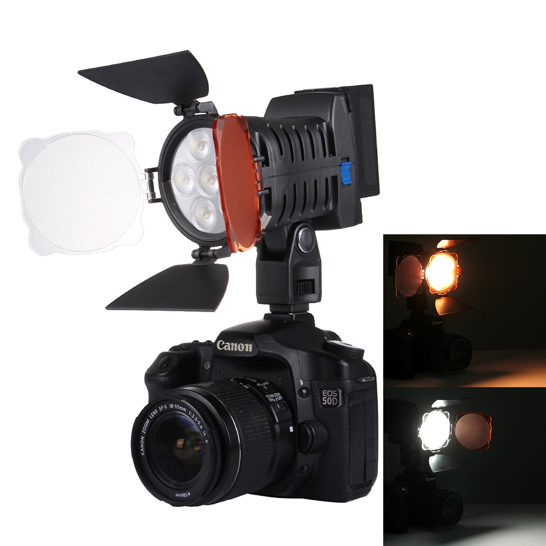 LED-5010 6 LED 750LM Dimmable Video Light on-Camera Photography Lighting Fill Light for Canon, Nikon, DSLR Camera with Hand Grip