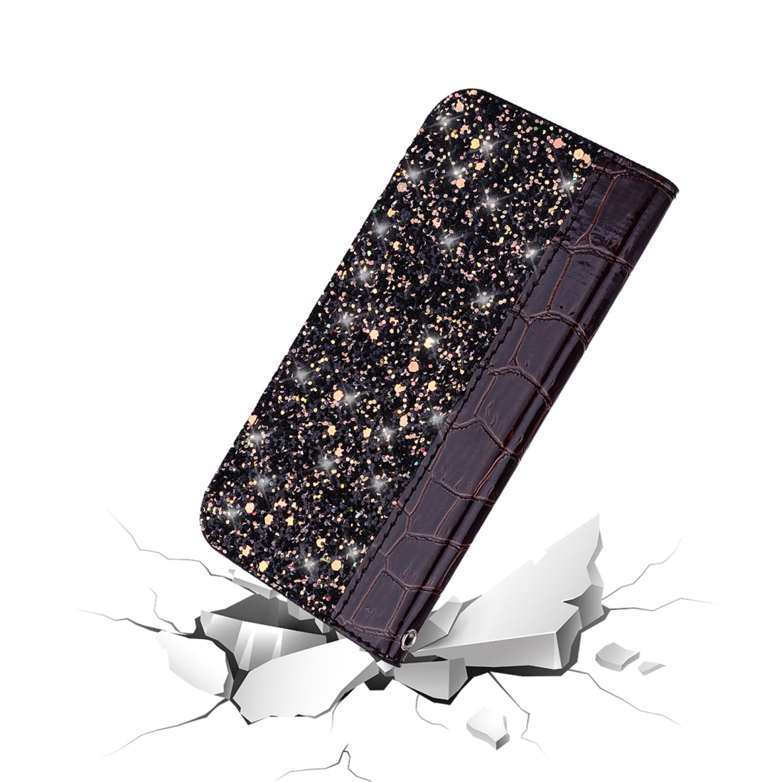 Crocodile Texture Glitter Powder Horizontal Flip Leather Case with Card Slots & Holder for Galaxy Note 10(Black)