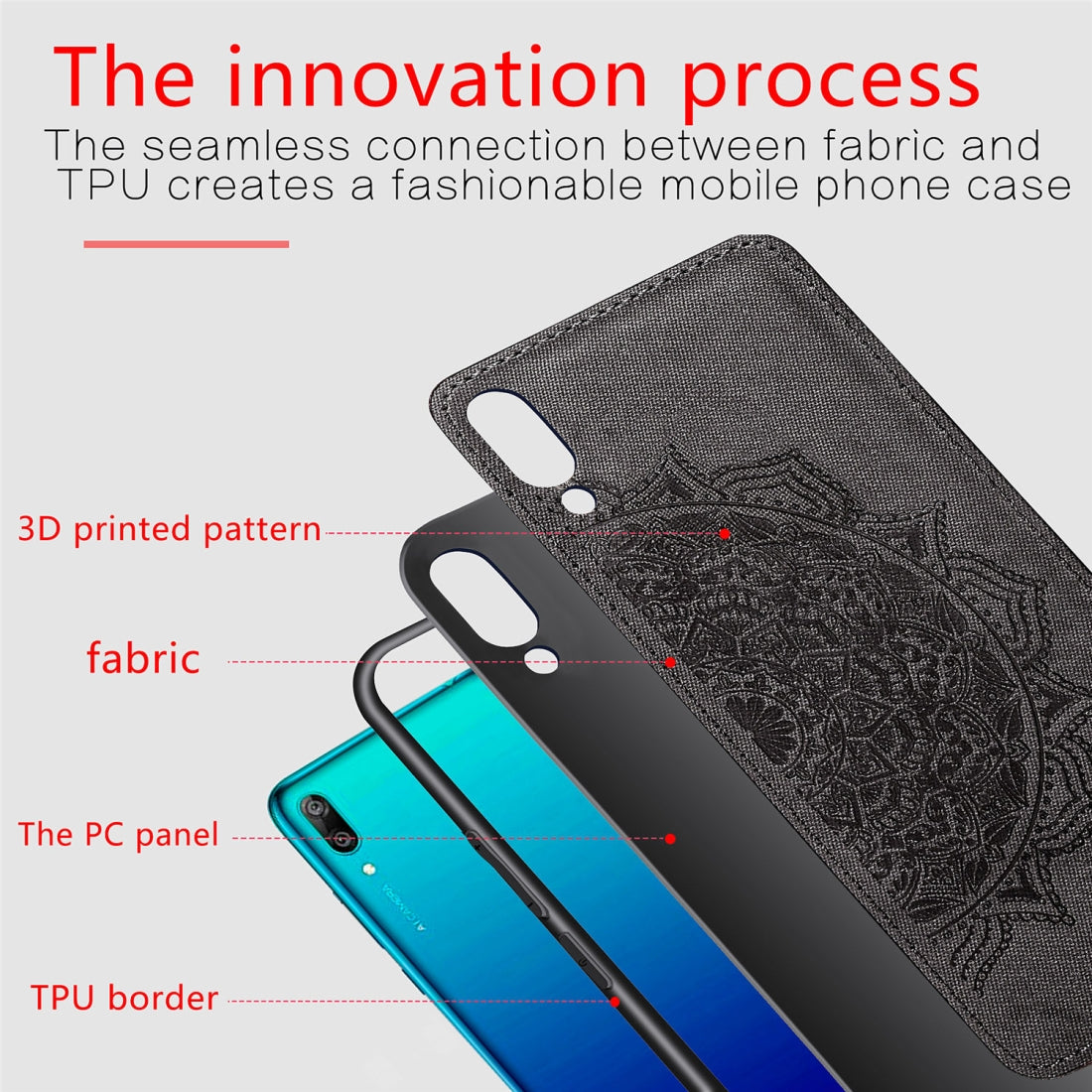 Embossed Mandala Pattern Magnetic PC + TPU + Fabric Shockproof Case for Huawei Y7 (2019) without Fingerprint Hole(Black)