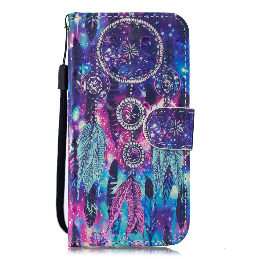 3D Painting Pattern Coloured Drawing Horizontal Flip PU Leather Case with Holder & Card Slots & Wallet For Galaxy S9+(Starry Wind Chime)