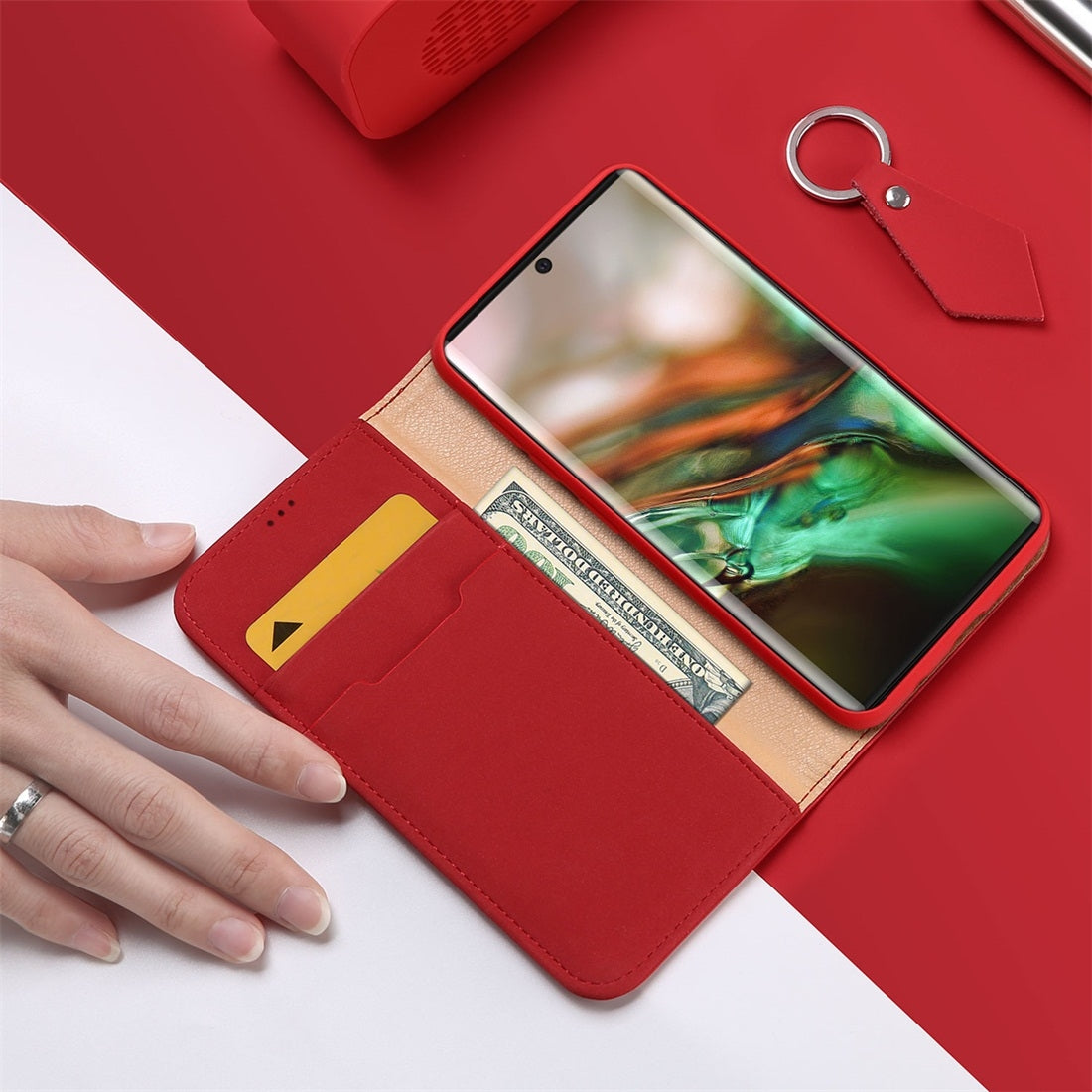 DUX DUCIS WISH Series TPU + PU + Leather Case with Card Slots & Wallet for Galaxy Note 10(Red)