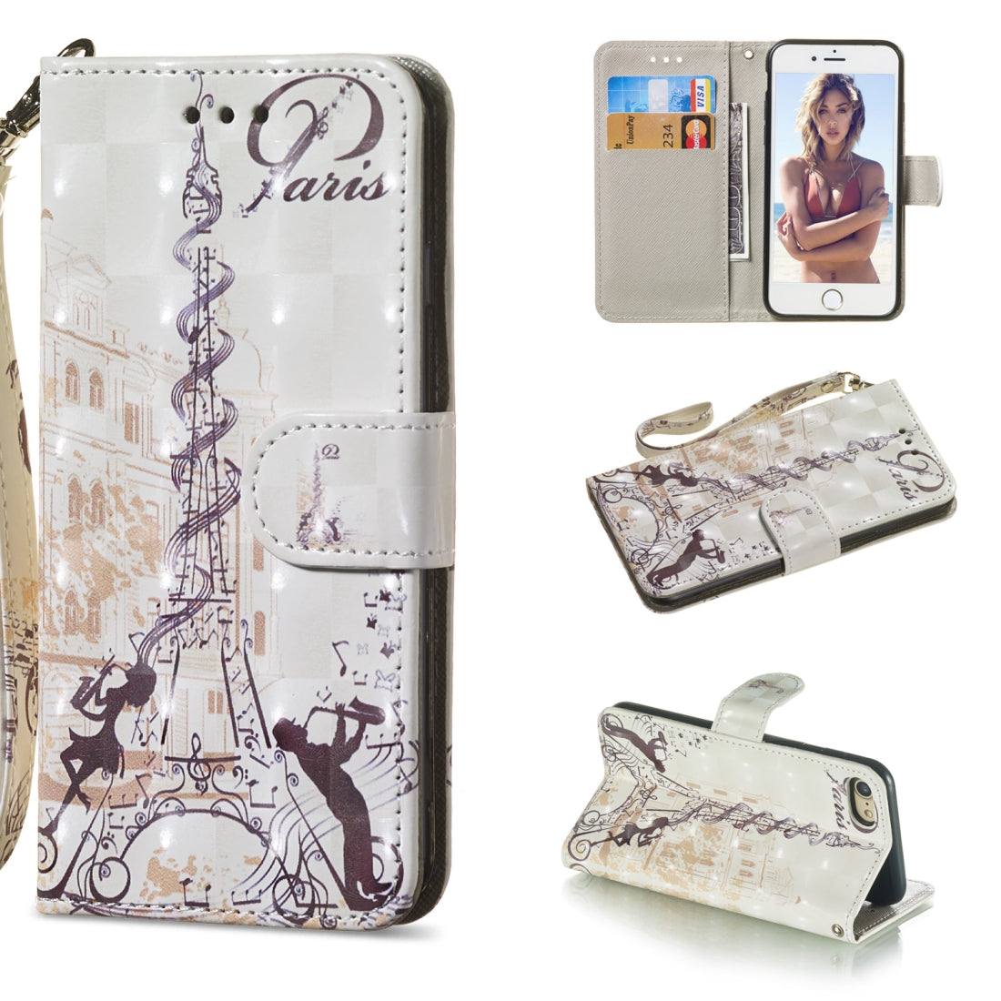 3D Painting Pattern Coloured Drawing Horizontal Flip PU Leather Case with Holder & Card Slots & Wallet For iPhone 7 & 8(Couple of Eiffel Tower)