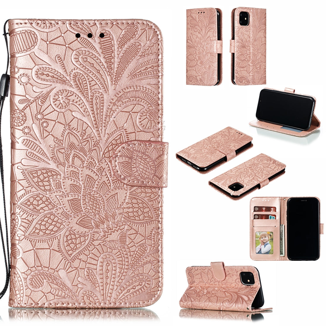Lace Flower Horizontal Flip Leather Case with Holder & Card Slots & Wallet for iPhone 11(Rose Gold)