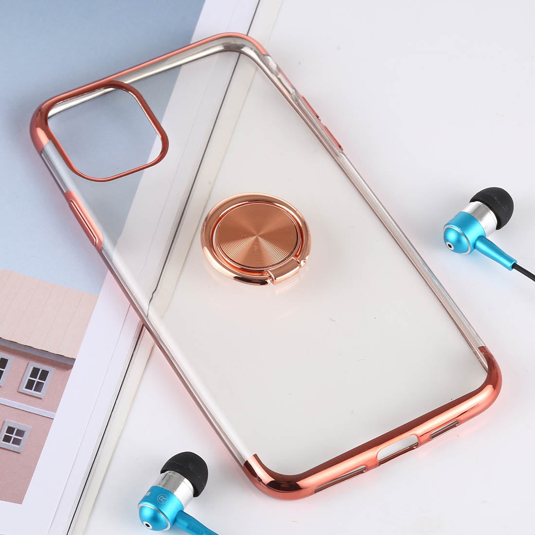 Shockproof TPU Proctive Case with Holder for iPhone 11(Rose Gold)
