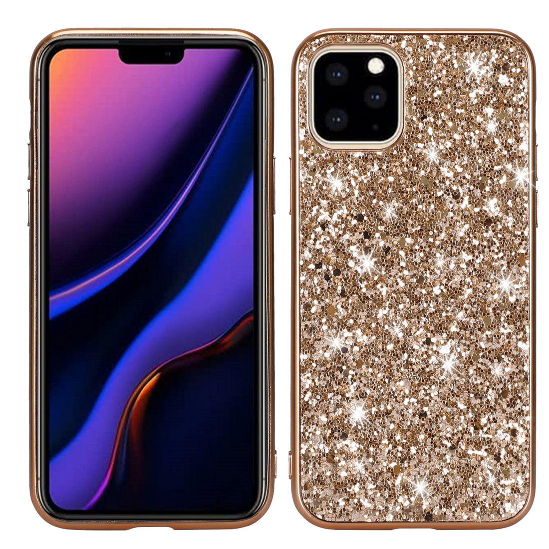 Glitter Powder Shockproof TPU Protective Case for iPhone 11(Gold)