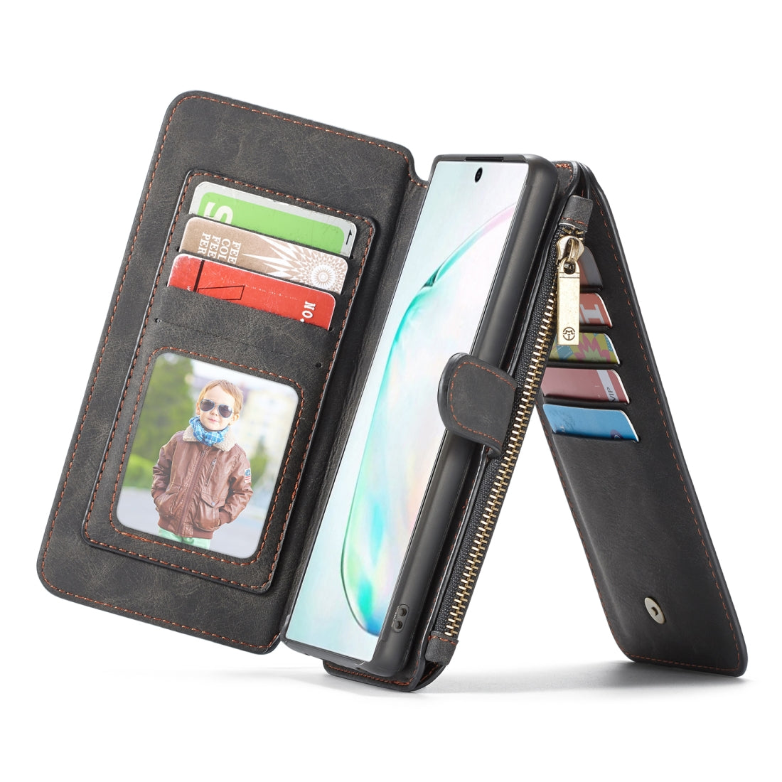 CaseMe-007 Detachable Multifunctional Horizontal Flip Leather Case with Card Slot & Holder & Zipper Wallet & Photo Frame for Galaxy Note 10(Black)
