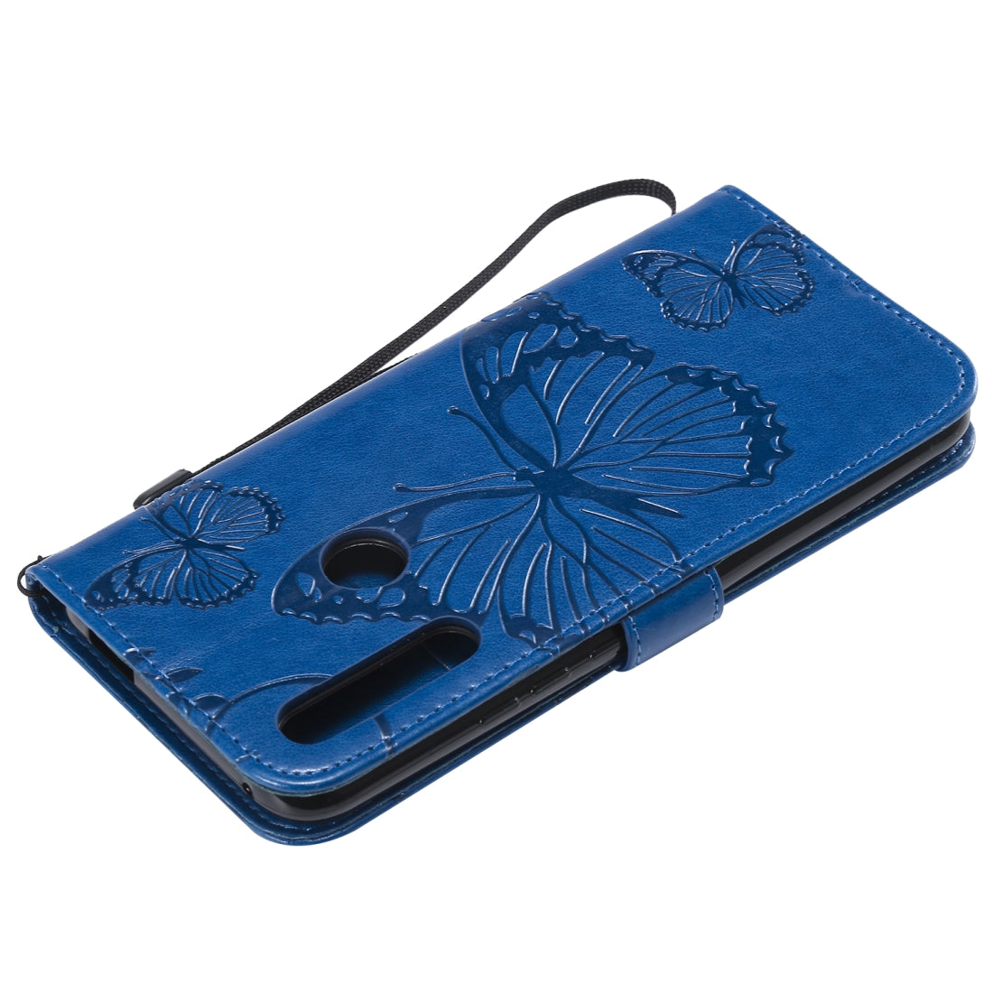 Pressed Printing Butterfly Pattern Horizontal Flip PU Leather Case with Holder & Card Slots & Wallet & Lanyard For Huawei P Smart Z / Y9 Prime 2019(Blue)