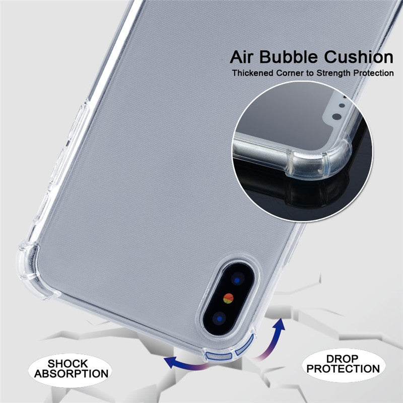 Four-Corner Anti-Fall Transparent TPU Mobile Phone Case With Lanyard for iPhone 11(Black Gold)