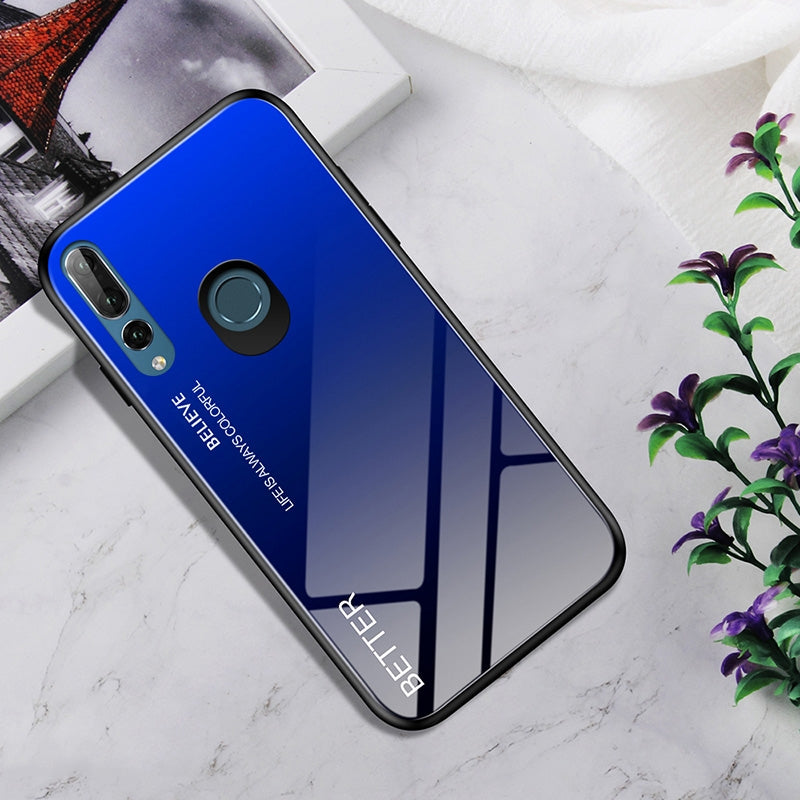 Shockproof Tempered Glass + TPU Case For Huawei Y9 Prime (2019) / P Smart Z(Black Blue)