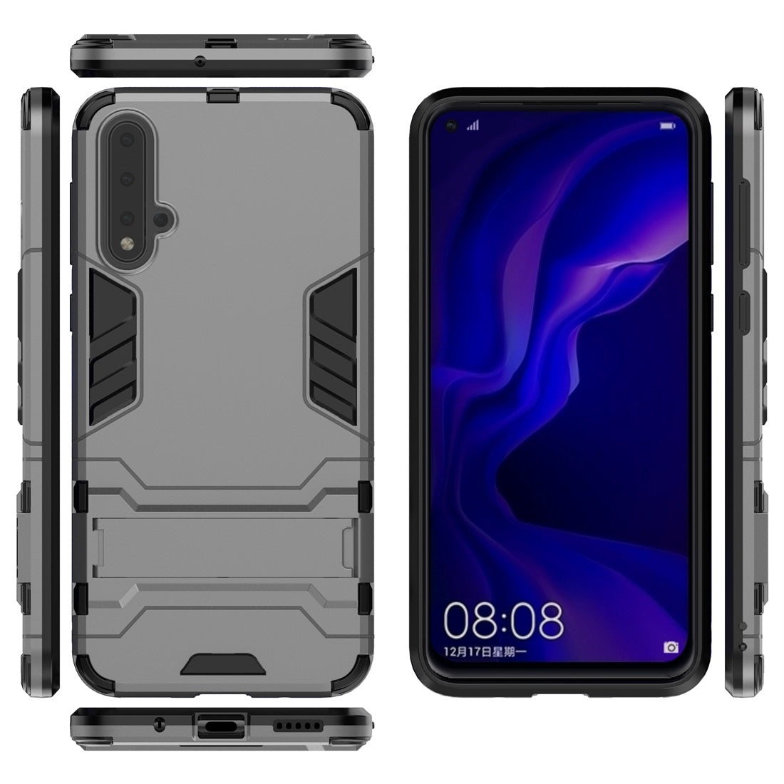 For Huawei Nova 5 / Nova 5 Pro Shockproof PC + TPU Protective Case with Invisible Holder(Grey)