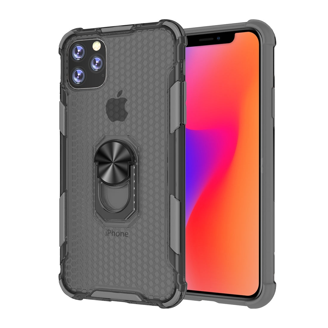 For iPhone 11 Shockproof PC + TPU Protective Case with Ring Holder(Grey)