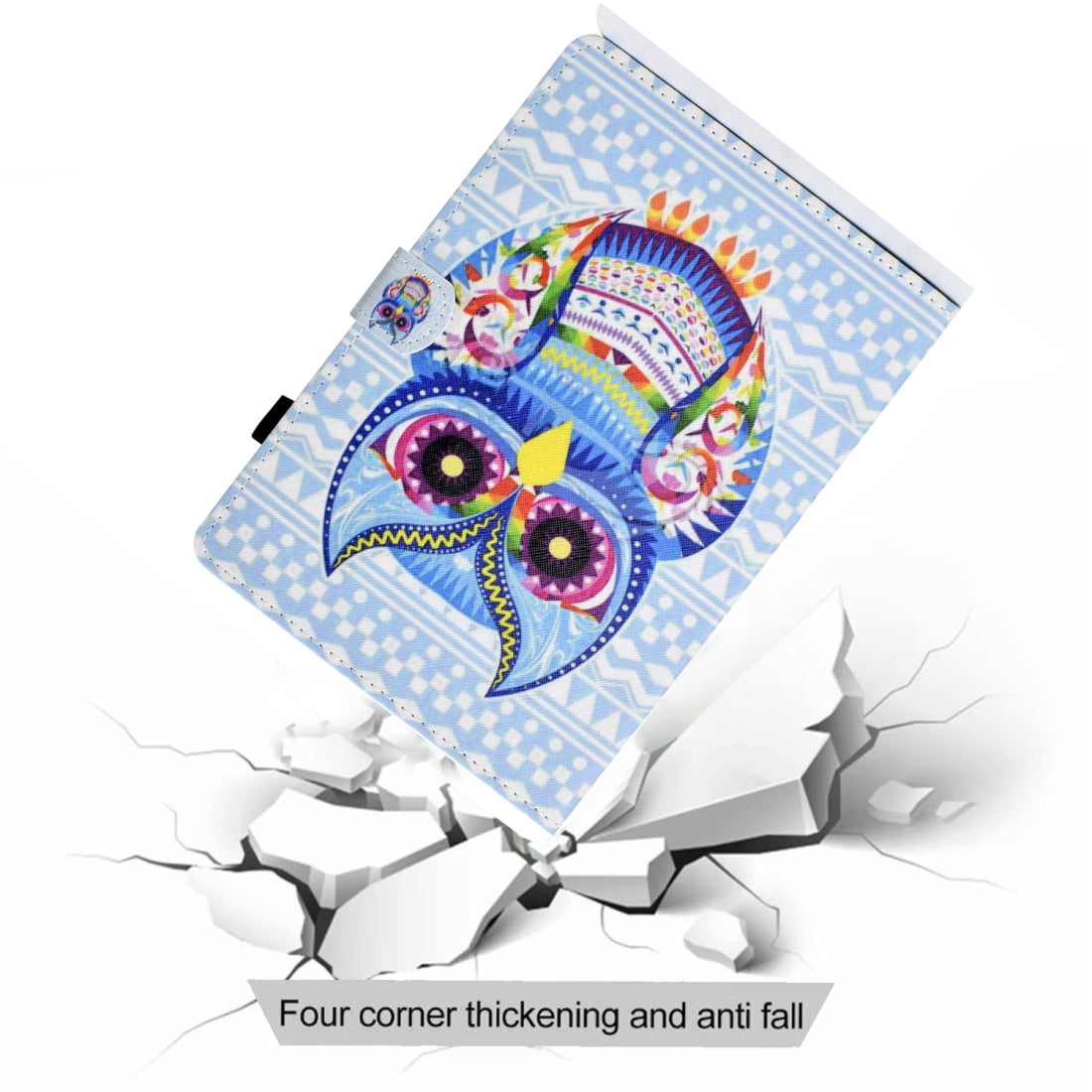 For iPad Mini 1 / 2 / 3 / 4 Colored Drawing Stitching Horizontal Flip Leather Case, with Holder & Card Slots(Colored Owl)