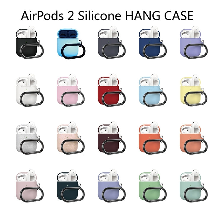 Anti-fall Silicone Charging Box Protective Case with Carabiner for AirPods 2(Atrovirens)