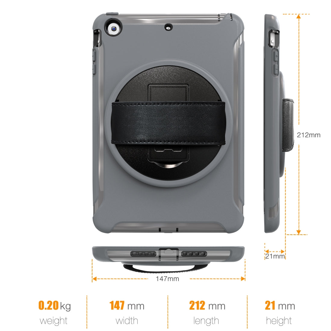 For iPad mini 3 & 2 & 1 360 Degree Rotation PC+TPU Protective Cover with Holder & Hand Strap(Grey)